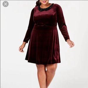 EUC burgundy velvet betsey Johnson dress